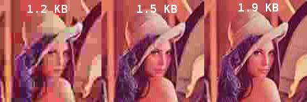 Distintos valores de compresión JPEG