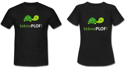 Camisetas básicas negras teknoPLOF! de chico y de chica