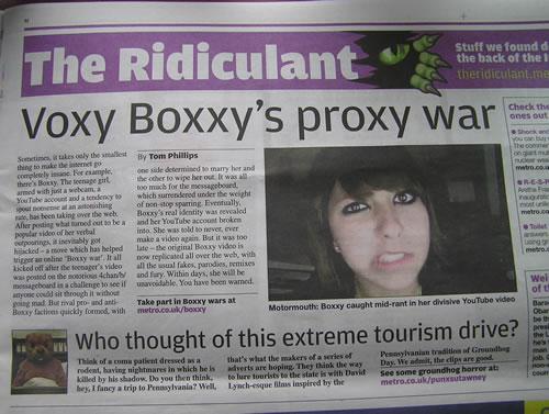 Artículo en la sección 'The Ridiculant' del diario británico Metro