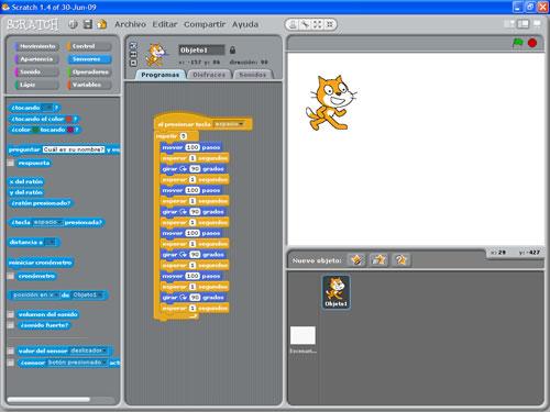 Pantalla principal de Scratch