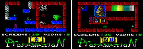 El diamante (izquierda) y la selección de color (derecha)