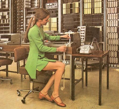 Trabajadora en un centro de cálculo