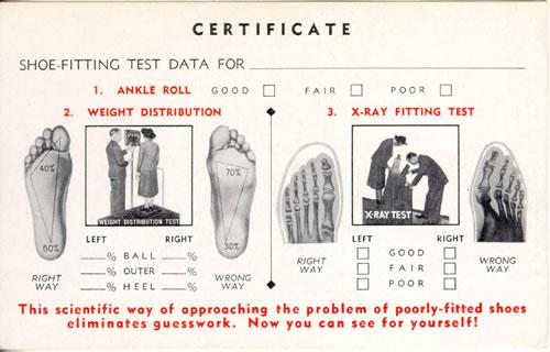 Certificado de zapato adecuado con prueba de rayos X