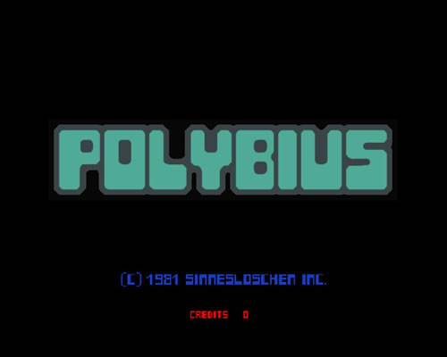 Supuesta pantalla inicial de 'Polybius'