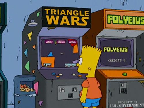 """Guiño en 'Los Simpsons' a 'Polybius' (nótese el """"Propiedad del Gobierno de EE.UU."""")"""