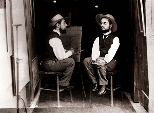 'Henri de Toulouse-Lautrec as artist and model' de Maurice Guibert (1895)