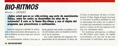 'Biorritmos' en MicroHobby
