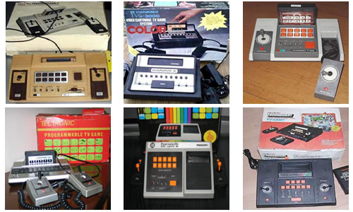De izquierda a derecha y de arriba a abajo: ITMC SD-090, Hanimex TVG 3000, Prog TV Game SD-050, Tectronic Prog TV Game, Radofin Tele-Sports III y Prinztronic Tourney 2000