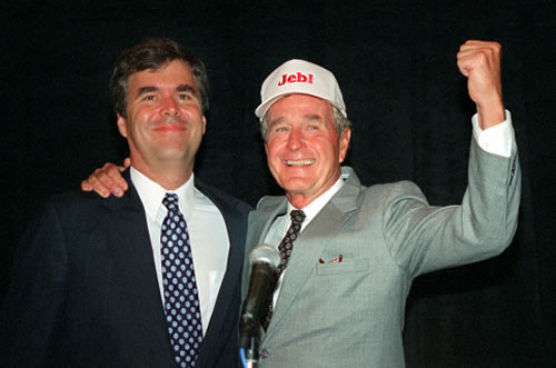 Jeb Bush y su padre en 1994