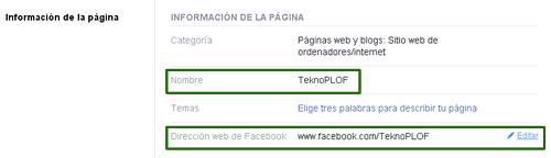 Configuración de Facebook