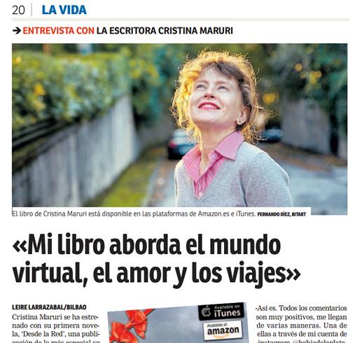 Entrevista a Cristina Maruri en El Nervión (clic para ver el periódico, página 20)
