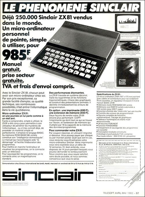 Publicidad francesa del ZX81 (clic para ampliar)