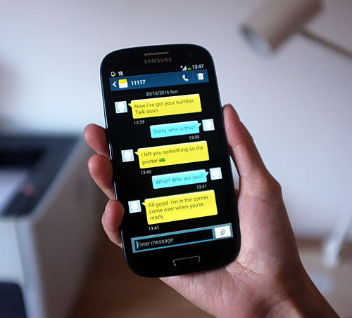 Mensajes SMS a las víctimas