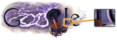 Doodle dedicado a Nikola Tesla + Trifuerza