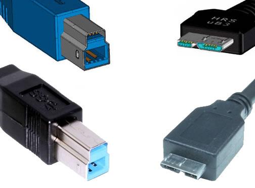 Conector USB 3.0 estándar Tipo B (macho), Micro USB 3.0 Tipo B (macho) y esquemas