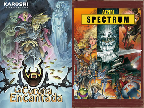 Portada de 'La corona encantada' y cubierta del libro 'Spectrum'