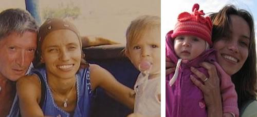 La pareja y la niña (izquierda) e Irina con su hija (derecha)