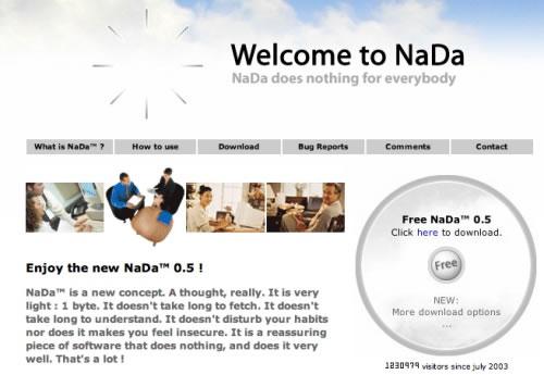 Captura del sitio web de NaDa