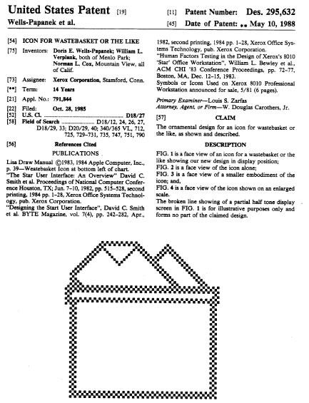 Primera página de la patente del icono de Xerox