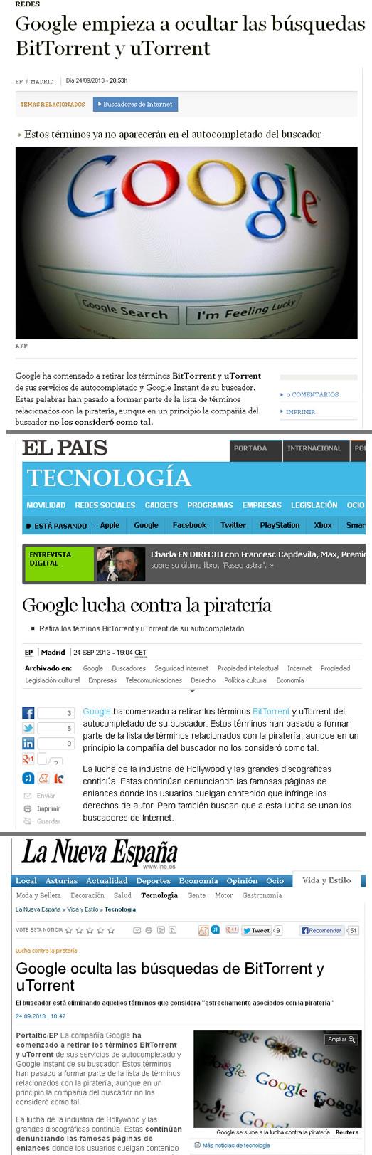 Noticia en ABC, El País y La Nueva España