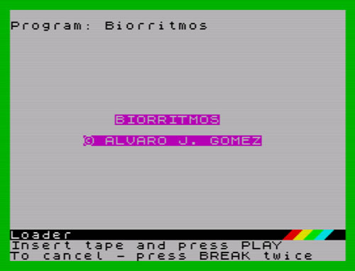 Pantalla de presentación de 'Biorritmos'