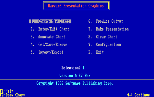 'Harvard Graphics 1.0' para MS-DOS